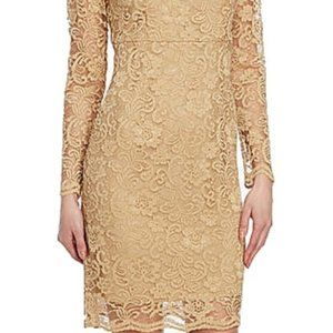 Nanette Lepore Gold Lace Shift Cocktail Dress 8